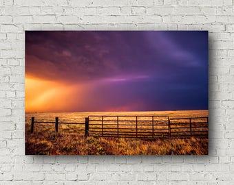 Canvas Photography, Western Canvas, Landscape Art, Oklahoma Sky Art, Gallery Wrap, Canvas Wall Art, Amazing Sky, Colorful Art, Canvas