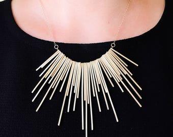 Geometric 14k Gold Filled Statement Necklace. Handmade