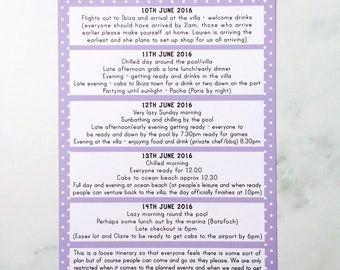 Hen Party Itinerary, Hen Party Memory Game, Hen Kit, Hen Party Games, Bride to be L Plates, Bride to be Bunting, Hen L Plates, Hen Do