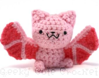 Pink Bat Amigurumi Crocheted Plush Toy Cute Kawaii Halloween