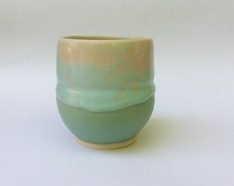 Aqua, Teal, Turquoise, Beige Cup, Tumbler