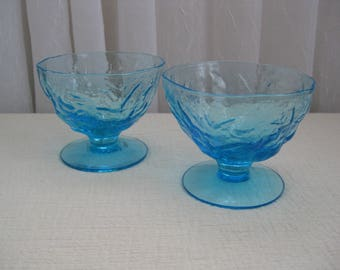 Set of Two Vintage Mid Century Driftwood Crinkle Blue Glass Champagne Sherbets Seneca