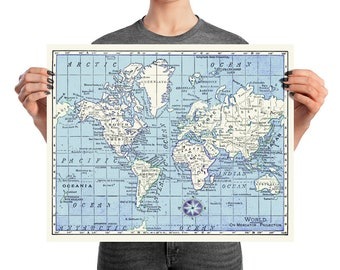 A Really Nice Map Print - blue and white with a touch of purple and a compass rose