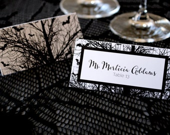 FULL SERVICE Halloween Bats Tree Gothic Escort Cards Spooky Black and White Wedding Place Cards -Script Font