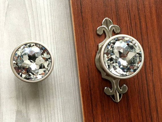 Glass Dresser Knobs Crystal Drawer Knob Pull Handles Sparkle Clear Diamond  Cabinet Door Knob Back Plate Plates Brushed Nickel Lynns Hardware From ...