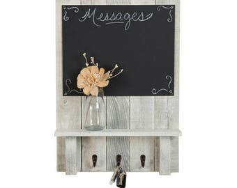 Message Center with Chalkboard, Display Shelf, and Key Hooks | 24 x 17.5 Inch - Whitewash