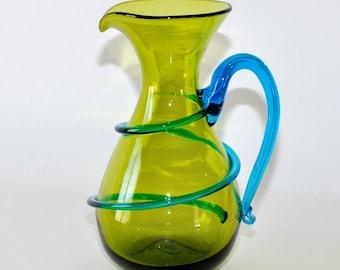 Blenko Glass Joel Myers Pitcher Olive Green & Turquoise Blue, circa 1968