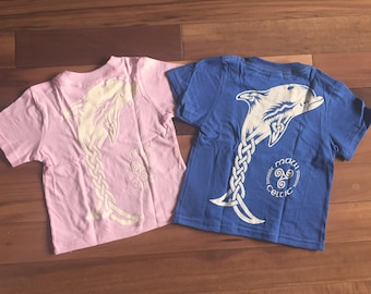 Maui Celtic Dolphin Toddler Short Sleeve Tee Shirt- 2T Pink or Royal Blue with Off-white print.