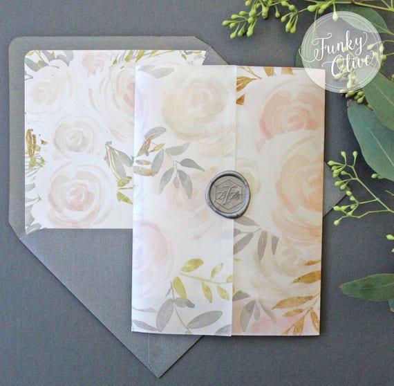 Floral Watercolor Wedding Invitation Vellum Wrap Wax Seal