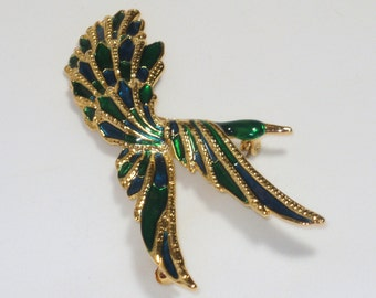 Bird Brooch, Vintage Pin, Bird Pin, Blue and Green, Green and Blue, Goldtone, Large Pin, Purse Pin, Lapel Pin, Bird Lovers, Jewel Tones