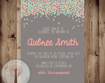 Confetti birthday invitation, bright birthday invitation, modern, adult birthday, 30th birthday, 40th, 21st birthday, party invitation 1007