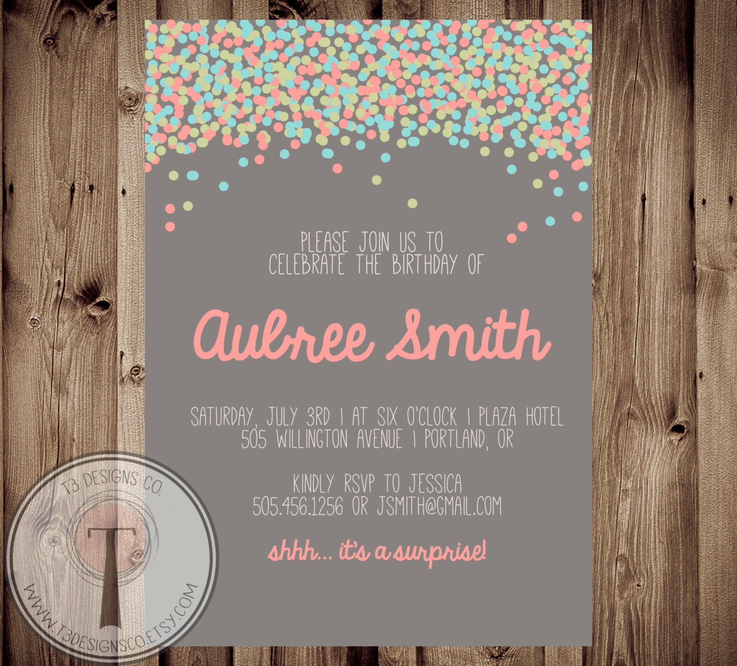 Confetti birthday invitation bright birthday invitation modern confetti birthday invitation bright birthday invitation modern adult birthday 30th birthday 40th 21st birthday party invitation 1007 filmwisefo