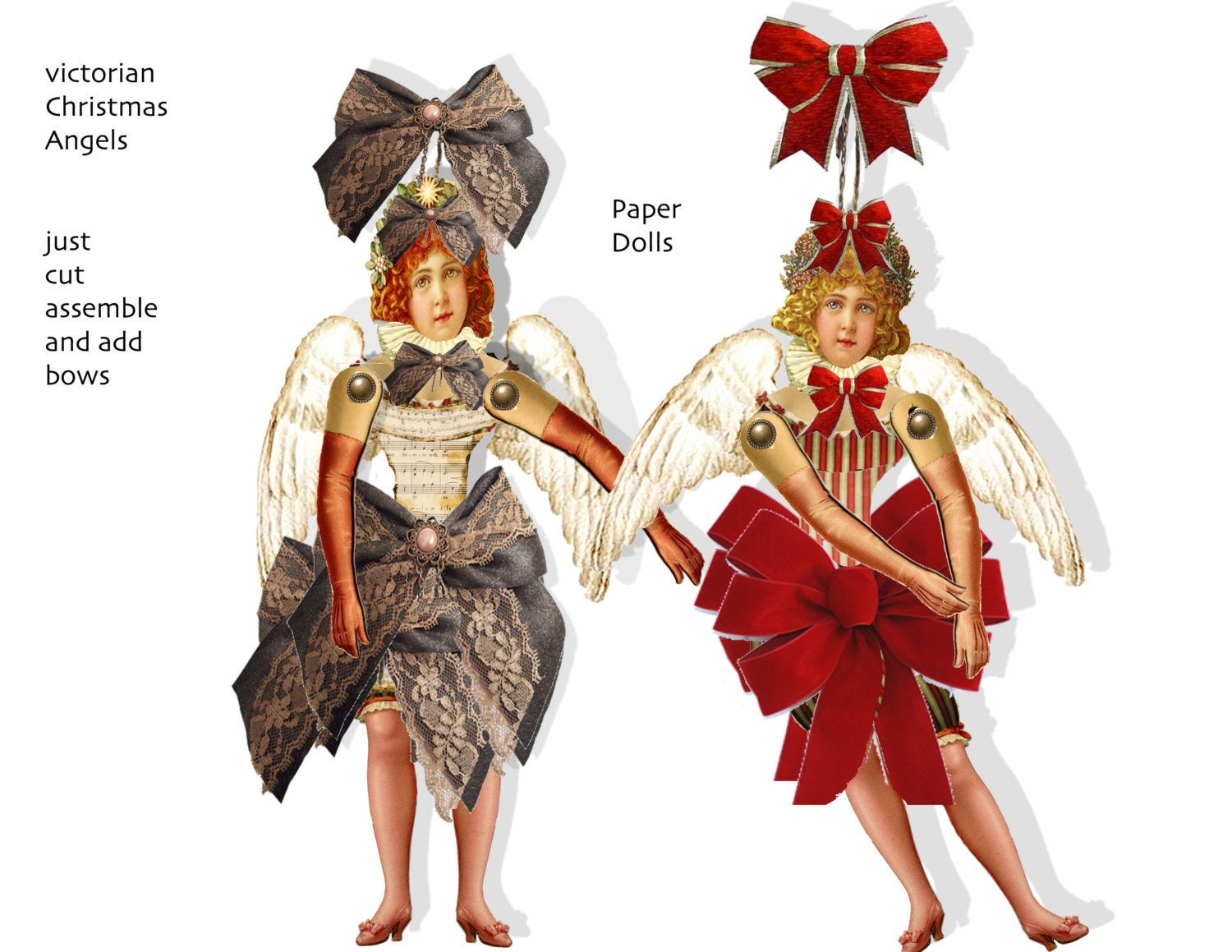 Christmas Victorian vintage Paper Doll Angel ornaments DIY paper ...