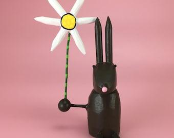 Brown Rabbit Sculpture | Easter Bunny | Spring Rabbit | Bunny Rabbit with Daisy