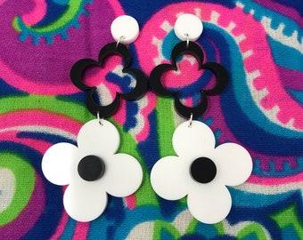 Sixties mod floral dangle earrings, laser cut acrylic, custom colours