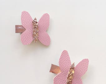 Butterfly faux leather hair clips  set of 2 butterfly hair clips, girls hair clips, butterfly