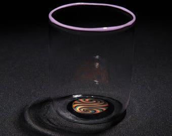Rainbow Purple Tumbler - lamp work handmade drinking glass