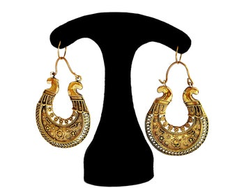 Indian Earrings, Indian Brass Earrings, Gypsy Earrings, Tribal Brass Earrings, Brass Hoop Earrings, Boho Hoop Earings, Indian Jewelry