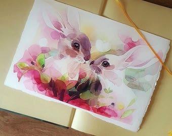 Watercolor painting, original, bunny love, Aquarelle, Illustration, art, spring
