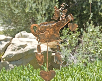 GARDEN Water Can Lawn Ornament Plant Stake Copper Metal Yard Memorial Outdoor Art Spike Patina Finish