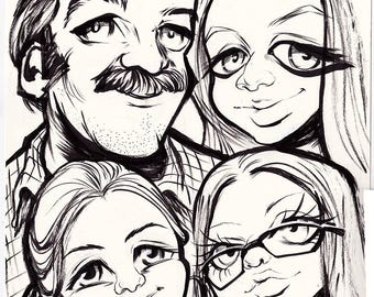 Family Caricature | multiple person caricature | group caricature | cartoon portrait