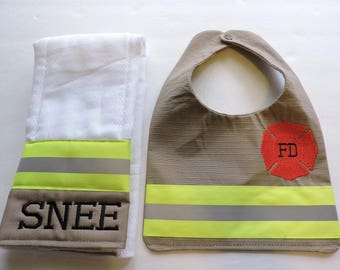 Firefighter Baby Bib and Personalized matching Burp cloth, Tan baby shower gift, New baby Gift Tan, bunker gear look, turnout gear look