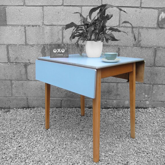 Vintage Blue Formica Kitchen Dining Table Extending Kitsch Retro