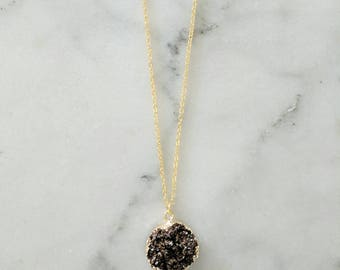 Gold Circle Druzy Necklace | Long Crystal Necklace Long Druzy Necklace Boho Necklace Stone Necklace Circle Pendant Necklace Druzy Pendant