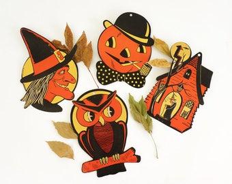 Vintage 1940s Halloween Decorations Set of 4 H.E. Luhrs Die Cut Wall Hanging VGC Orange Black JackOLantern Witch Owl Haunted House