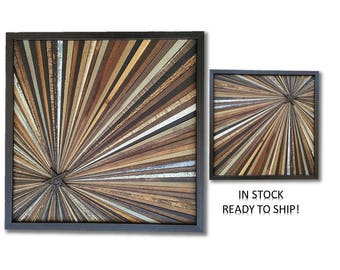 Reclaimed Wood Starburst Wall Art Sculpture Abstract Rustic Modern Transistional Decorative Textured Infinity Point Metal Star OOAK Gifts