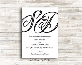 Paper Initials Save the Date Cards with Envelopes