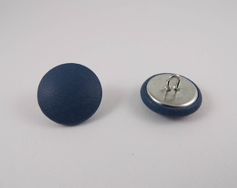 6 20mm blue leather covered buttons