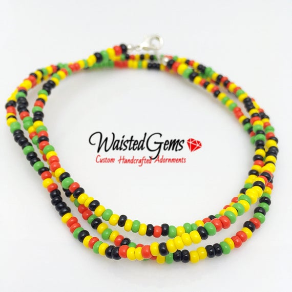 Rasta Waist Beads, body beads, belly chain, african waist beads, bikini, Body Jewelry zmw9991.00