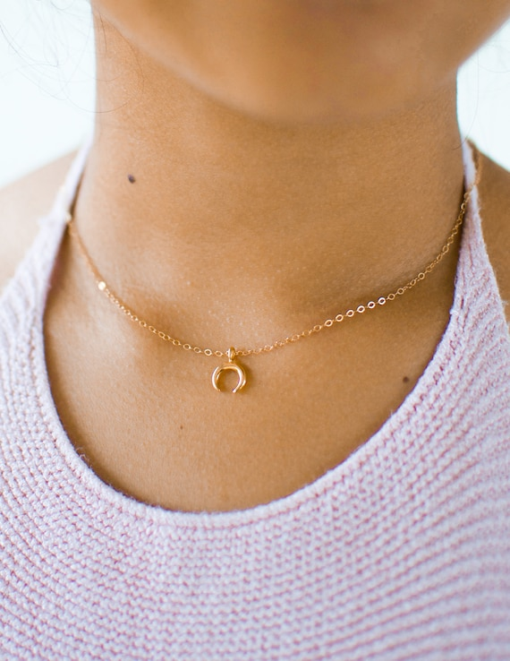 Horn Necklace | Boho Necklace | Gold Horn Necklace | Dainty Necklace | Simple Necklace | Half Moon Necklace | Nature Jewelry | Gift For Her