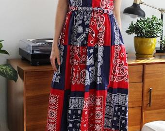 Vintage Red & Blue Patriotic Patchwork Bandana Belted Dress