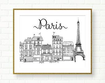 Paris Art Print, French Wall Decor, INSTANT DOWNLOAD, Black And White, City Landscape, Travel, Europe, Vanity Decor, PRINTABLE, Paris Poster