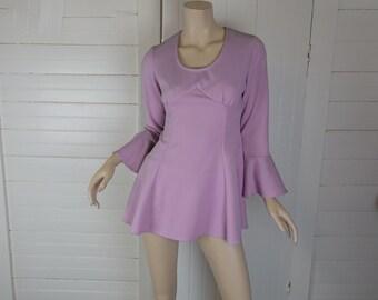 60s Babydoll Dress in Lavender- 1960s Mod Mini Dress + Panties- Bell Sleeves- Halloween / Dance Costume- Go Go Dancer