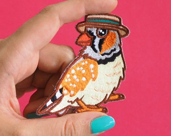 Zebra Finch in a Boater Patch - Iron on Embroidered Bird Patch - Zebra Finch cute Birds in Hats patch wearing a straw Boater Hat