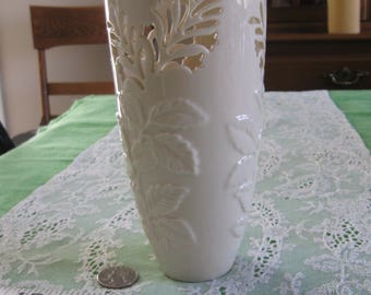 Vintage Lenox Vase With Embossed Leaves, Cut-Out Flowers, Gold Trim, 6-3/4 Inches High