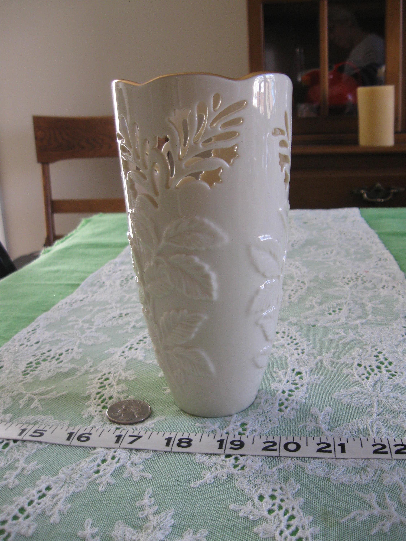 Vintage lenox vase with embossed leaves cut out flowers gold description pretty lenox vase floridaeventfo Choice Image