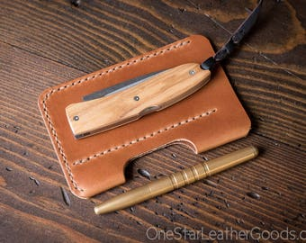 "EDC-2, every day carry pocket knife and pen case, Large size for knives up to 4.5"" closed - black or chestnut"