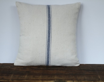 Grain Sack Fabric Pillow Cover, Decorative Pillow Cover, Farmhouse Pillow Cover, Custom Sizing - BLUE STRIPE