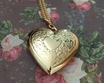 Photo Locket Heart Shape Gold Plated Chain Necklace