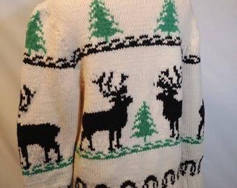 Vintage 1950's/60's Reindeer Cowichan Sweater/ Mary Maxim #400 Deer Siwash Sweater