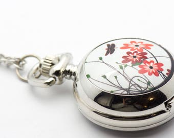 Flower Print Porcelain | Silvertone Pocket Watch Necklace | Chain Necklace Watch | Long Necklace Watch | Watch Locket Necklace - WA00057