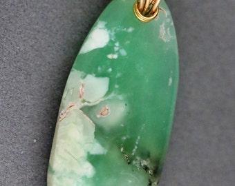 "Chrysoprase pendant, light green dark green black, ""Green Glory"", gold twirl bail 45ct"