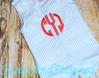 Monogrammed Boys Romper, Boys 4th of July Outfit, Personalized baby boy 4th of july outfit, monogrammed jon jon, toddler beach outfit