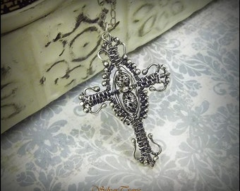Wire Woven Cross Pendant Wire Wrapped Pendant, Cross Pendant, Sterling Silver Cross Pendant, Beaded Pendant, Easter Jewelry, Christian Cross