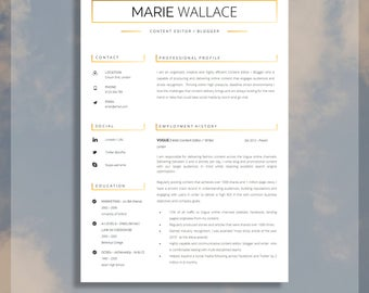"Professional Resume Template for Word | Resume Template For Word | Cover Letter & Resume Advice Included | Instant Download | ""Hyde"""