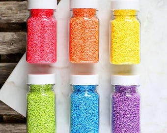 Bright Rainbow Shimmer Jimmies Sprinkles Set, Rainbow Sprinkles, Rainbow Jimmies, Rainbow Decorettes, Sugar Strands, Edible Sprinkles